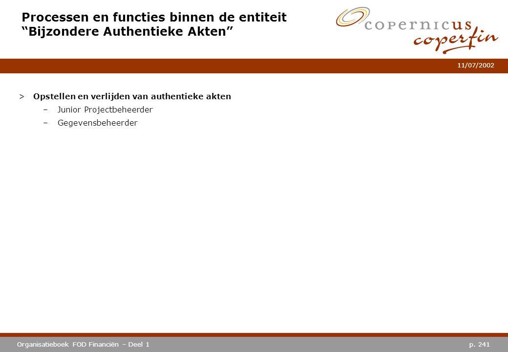 Processen en functies binnen de entiteit Bijzondere Authentieke Akten