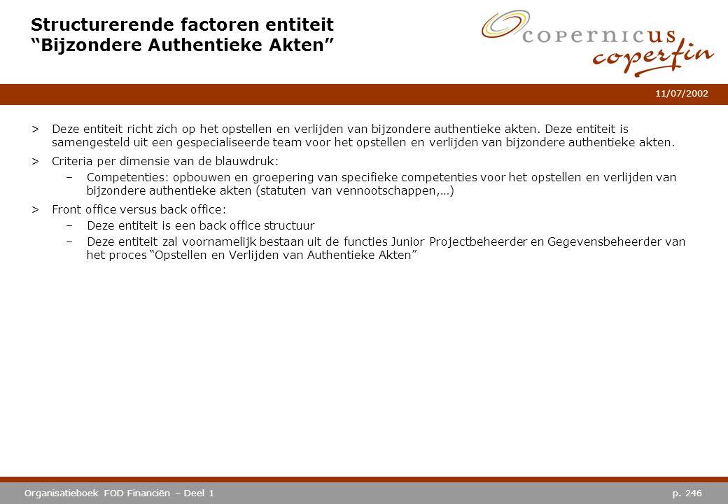 Structurerende factoren entiteit Bijzondere Authentieke Akten