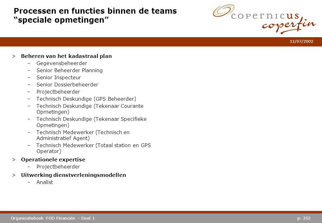 Processen en functies binnen de teams speciale opmetingen
