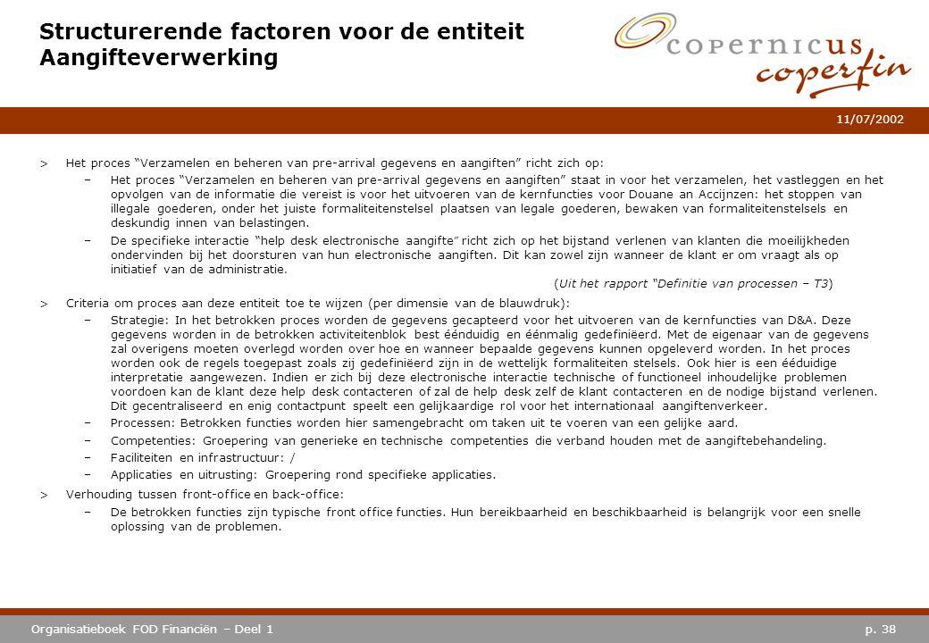 Structurerende factoren voor de entiteit Aangifteverwerking