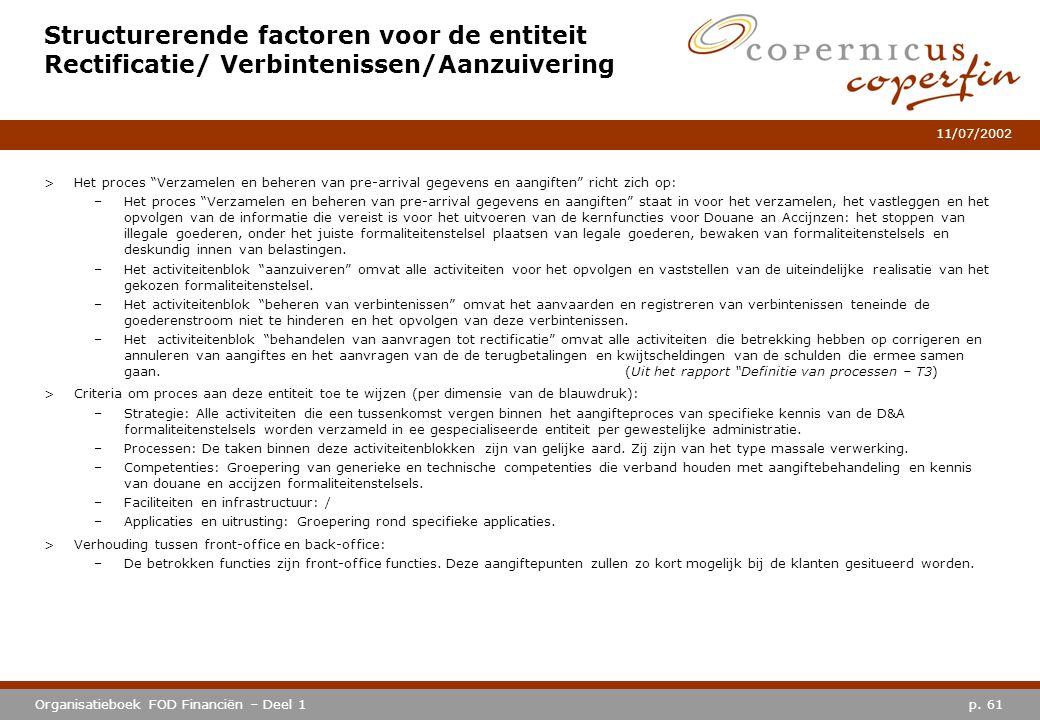 Structurerende factoren voor de entiteit Rectificatie/ Verbintenissen/Aanzuivering