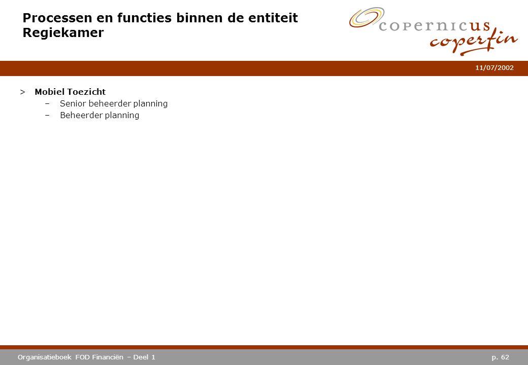 Processen en functies binnen de entiteit Regiekamer