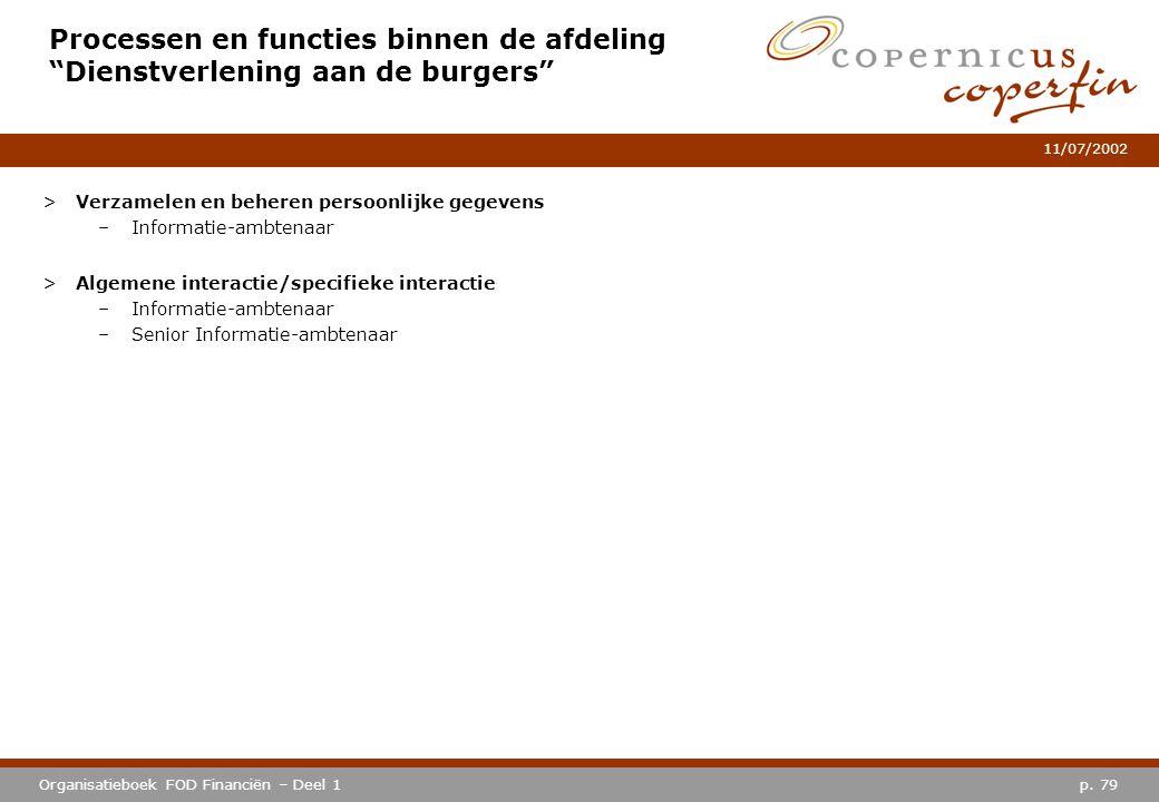 Processen en functies binnen de afdeling Dienstverlening aan de burgers