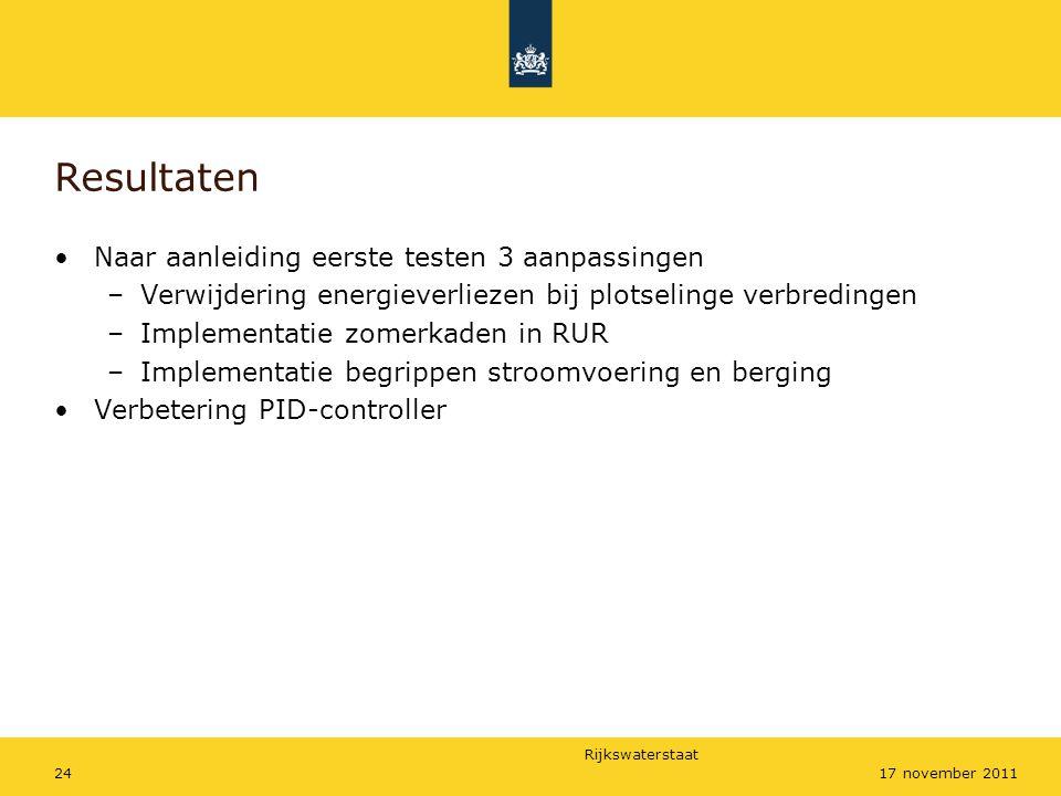 Resultaten Naar aanleiding eerste testen 3 aanpassingen