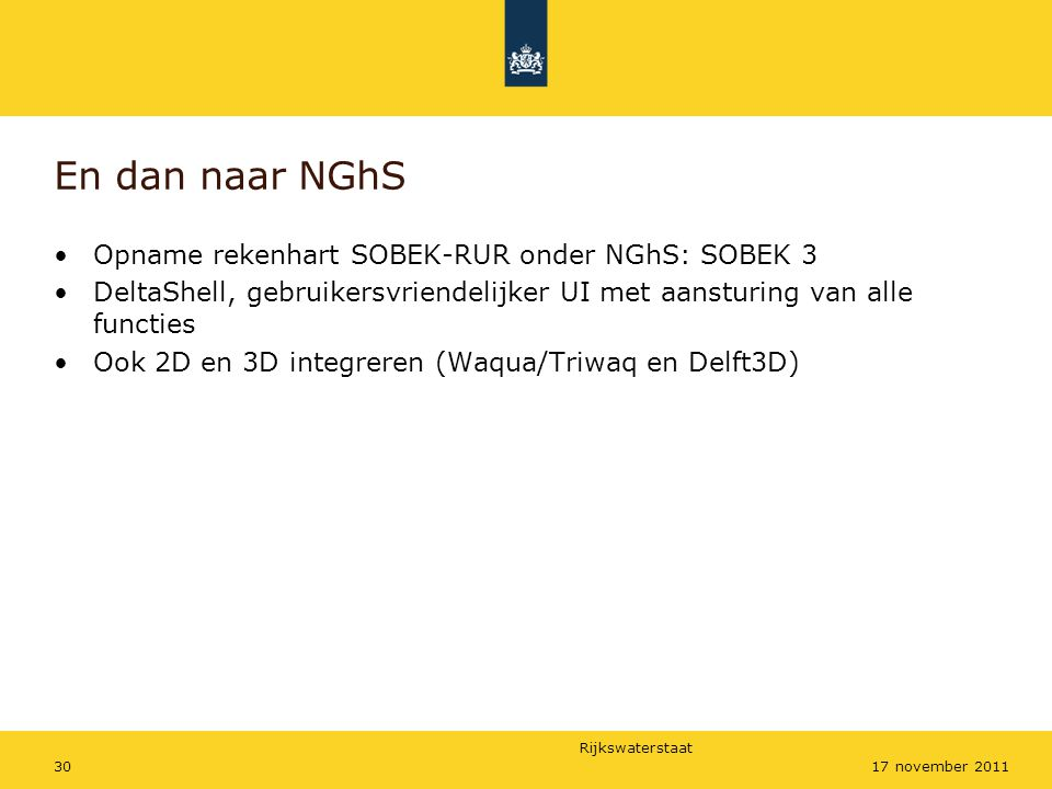 En dan naar NGhS Opname rekenhart SOBEK-RUR onder NGhS: SOBEK 3