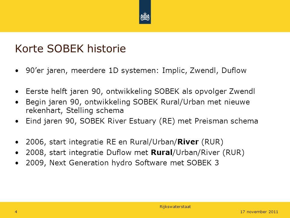 Korte SOBEK historie 90'er jaren, meerdere 1D systemen: Implic, Zwendl, Duflow. Eerste helft jaren 90, ontwikkeling SOBEK als opvolger Zwendl.