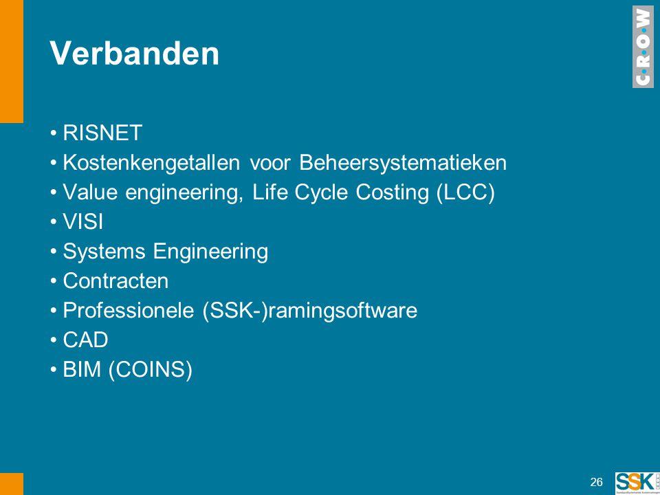 Verbanden RISNET Kostenkengetallen voor Beheersystematieken