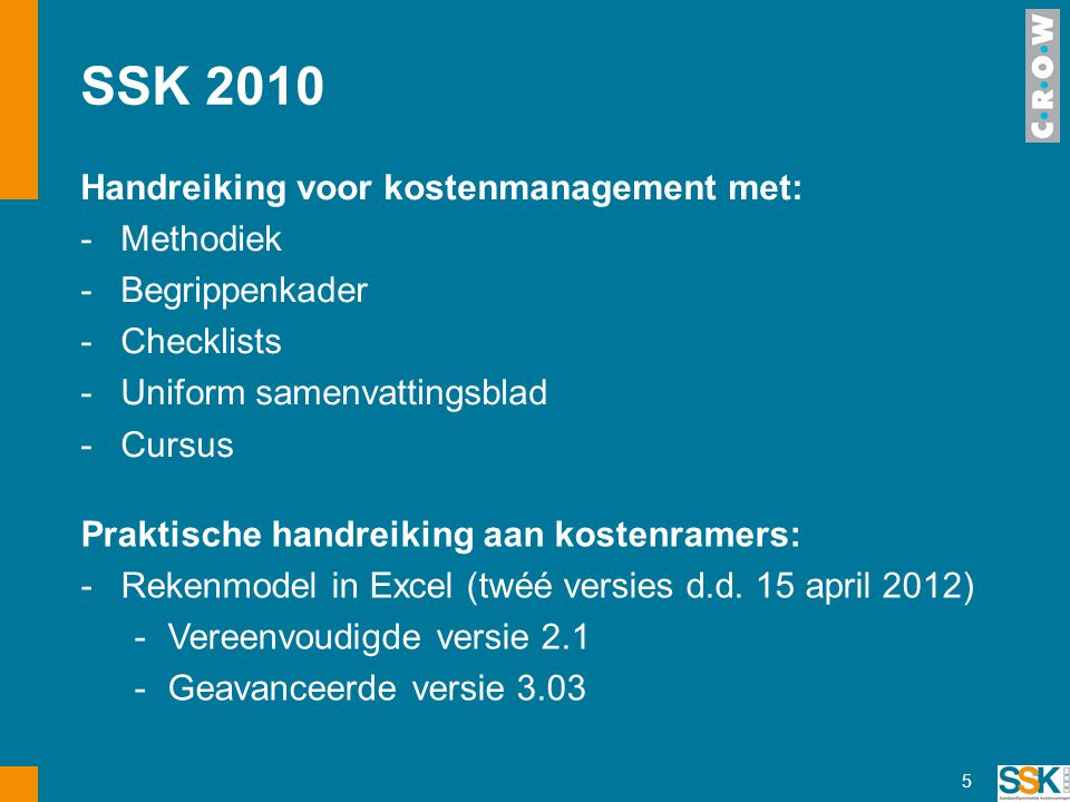 SSK 2010 Handreiking voor kostenmanagement met: Methodiek