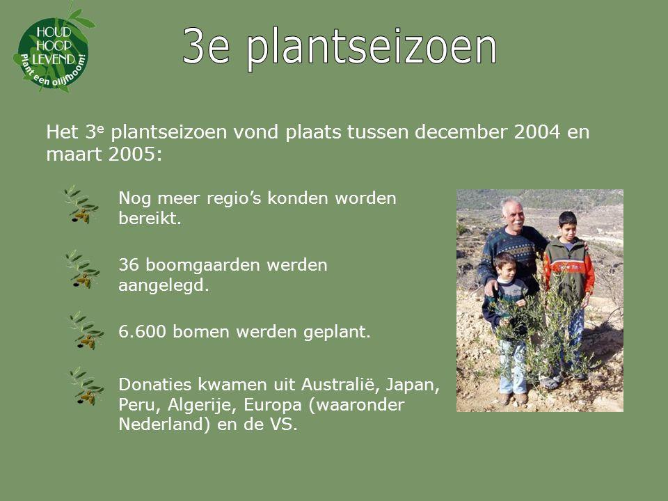 3e plantseizoen Het 3e plantseizoen vond plaats tussen december 2004 en maart 2005: Nog meer regio's konden worden bereikt.