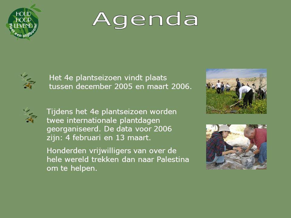 Agenda Het 4e plantseizoen vindt plaats tussen december 2005 en maart 2006.