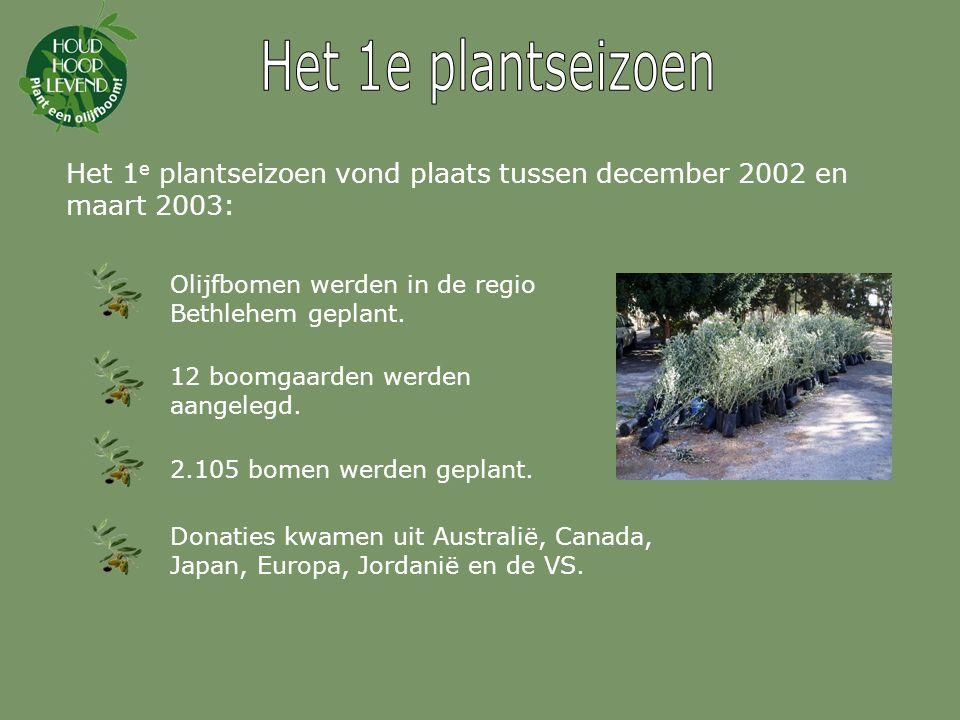 Het 1e plantseizoen Het 1e plantseizoen vond plaats tussen december 2002 en maart 2003: Olijfbomen werden in de regio Bethlehem geplant.