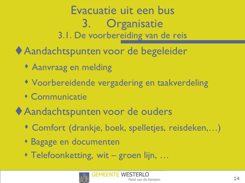 Evacuatie uit een bus 3. Organisatie 3.1. De voorbereiding van de reis