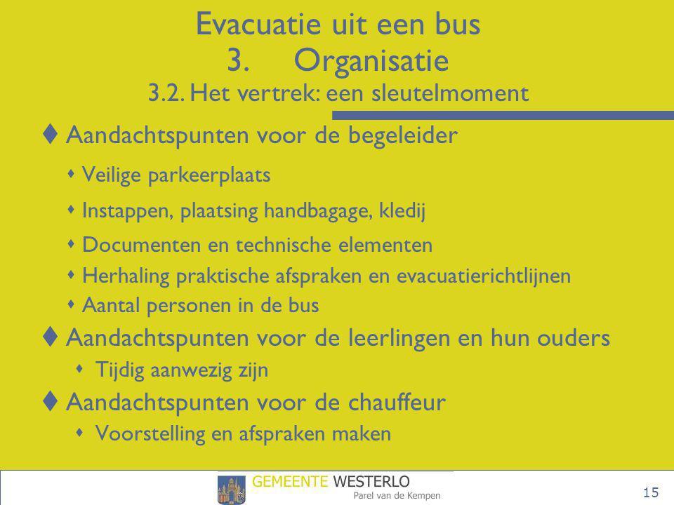 Evacuatie uit een bus 3. Organisatie 3. 2