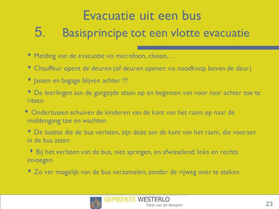 Evacuatie uit een bus 5. Basisprincipe tot een vlotte evacuatie
