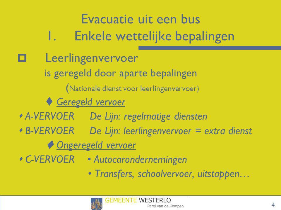 Evacuatie uit een bus 1. Enkele wettelijke bepalingen