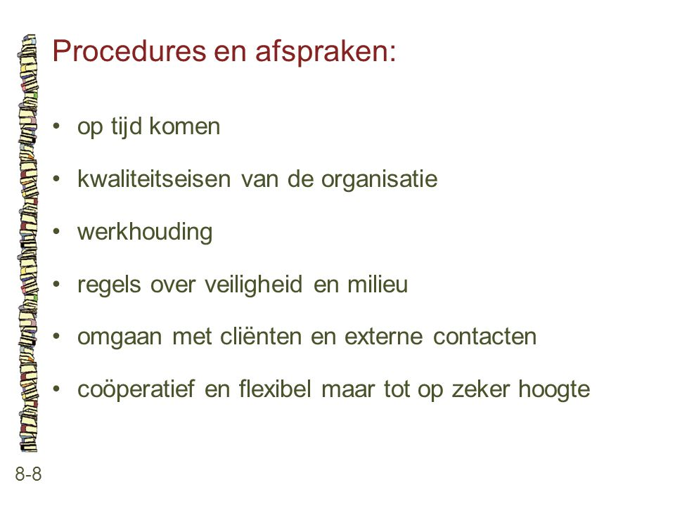 Procedures en afspraken: