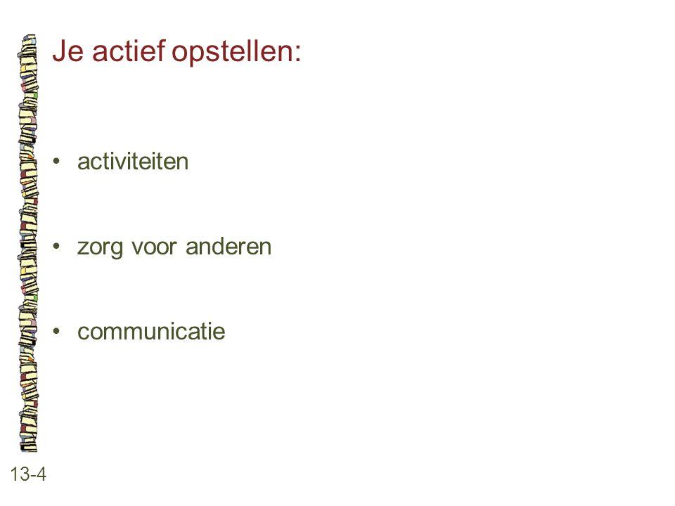 Je actief opstellen: • activiteiten • zorg voor anderen • communicatie