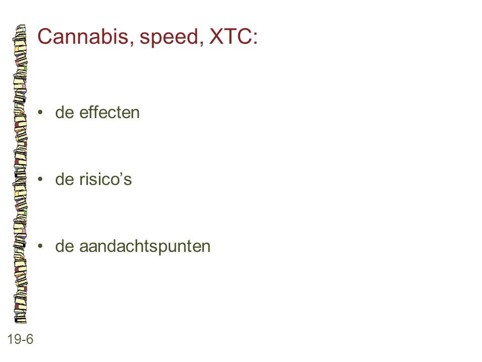 Cannabis, speed, XTC: • de effecten • de risico's • de aandachtspunten