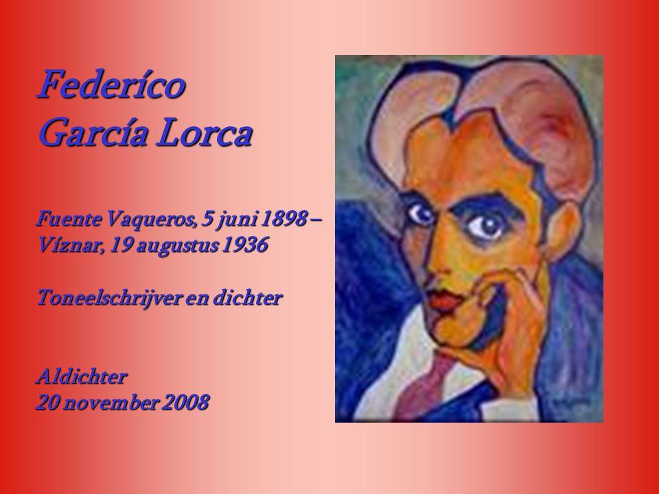 Federíco García Lorca. Fuente Vaqueros, 5 juni 1898 –Víznar, 19 augustus 1936. Toneelschrijver en dichter.