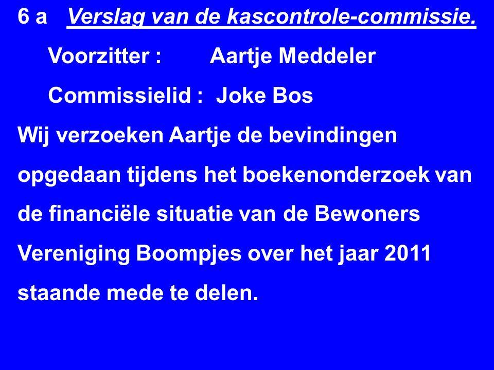 6 a Verslag van de kascontrole-commissie.