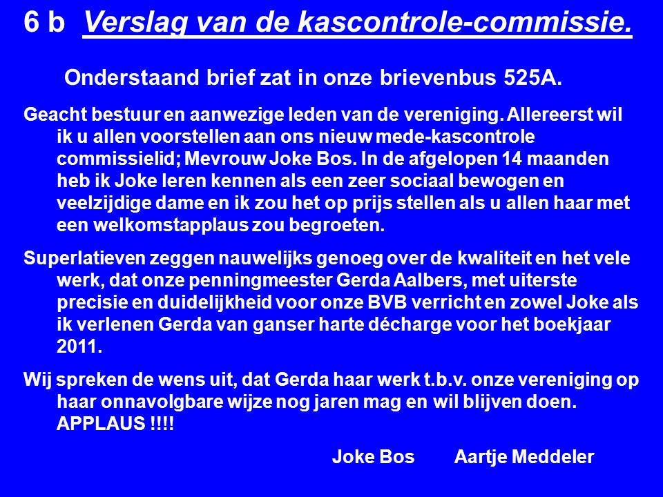 6 b Verslag van de kascontrole-commissie.