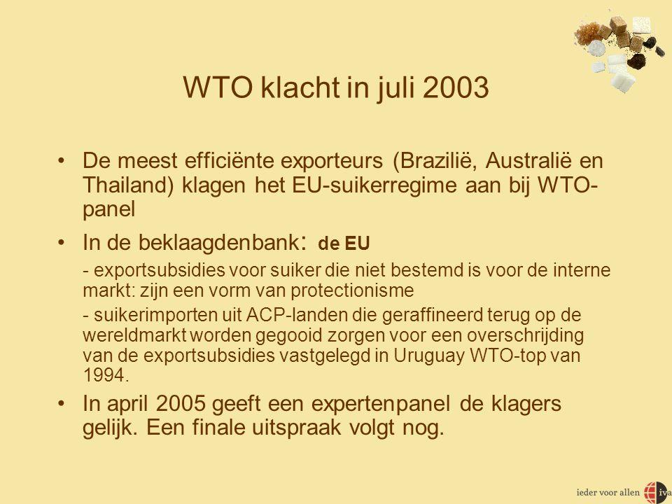 WTO klacht in juli 2003 De meest efficiënte exporteurs (Brazilië, Australië en Thailand) klagen het EU-suikerregime aan bij WTO-panel.