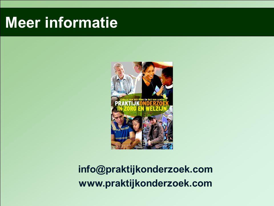 info@praktijkonderzoek.com www.praktijkonderzoek.com