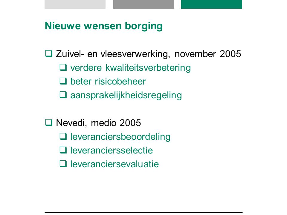Nieuwe wensen borging Zuivel- en vleesverwerking, november 2005