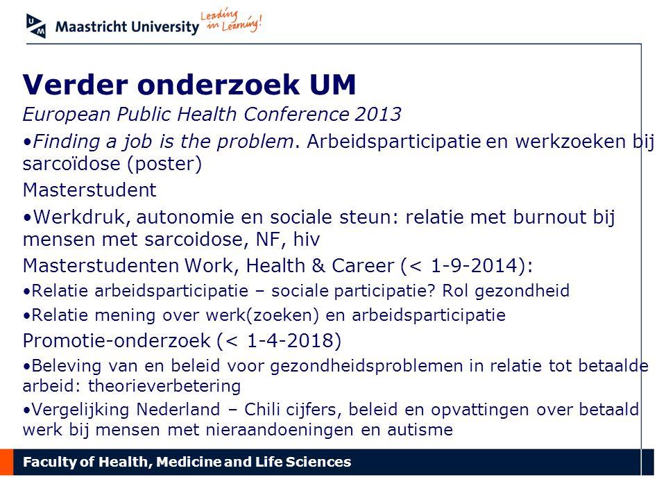 Verder onderzoek UM European Public Health Conference 2013