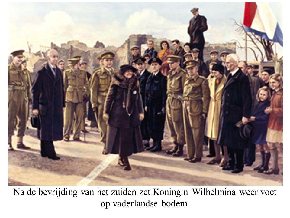 Na de bevrijding van het zuiden zet Koningin Wilhelmina weer voet op vaderlandse bodem.