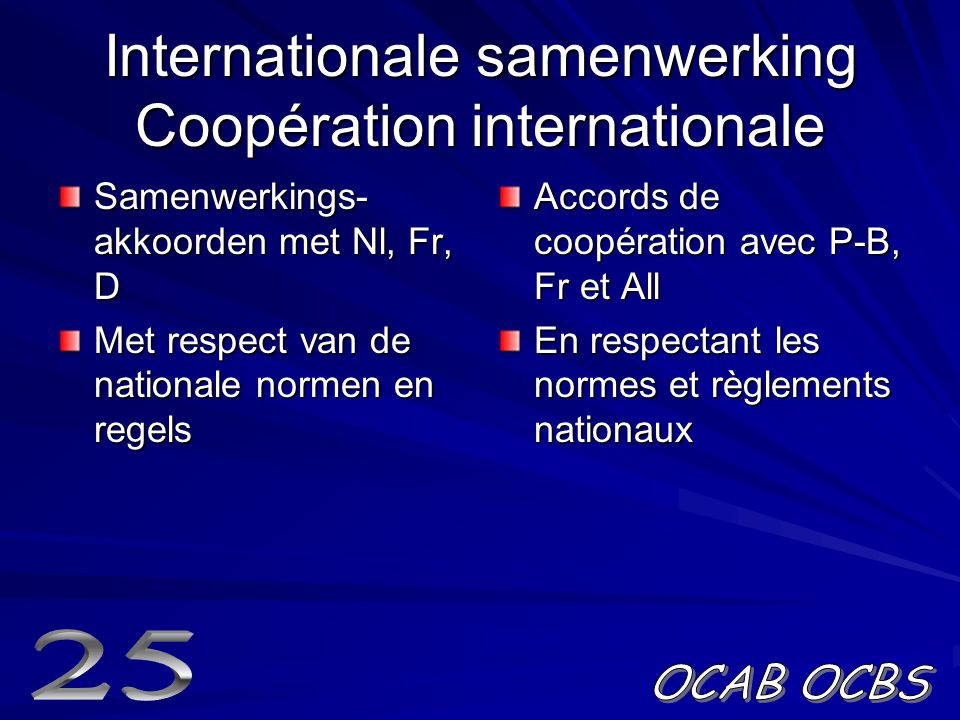 Internationale samenwerking Coopération internationale