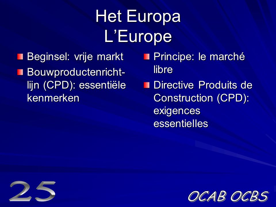 Het Europa L'Europe 25 OCAB OCBS Beginsel: vrije markt