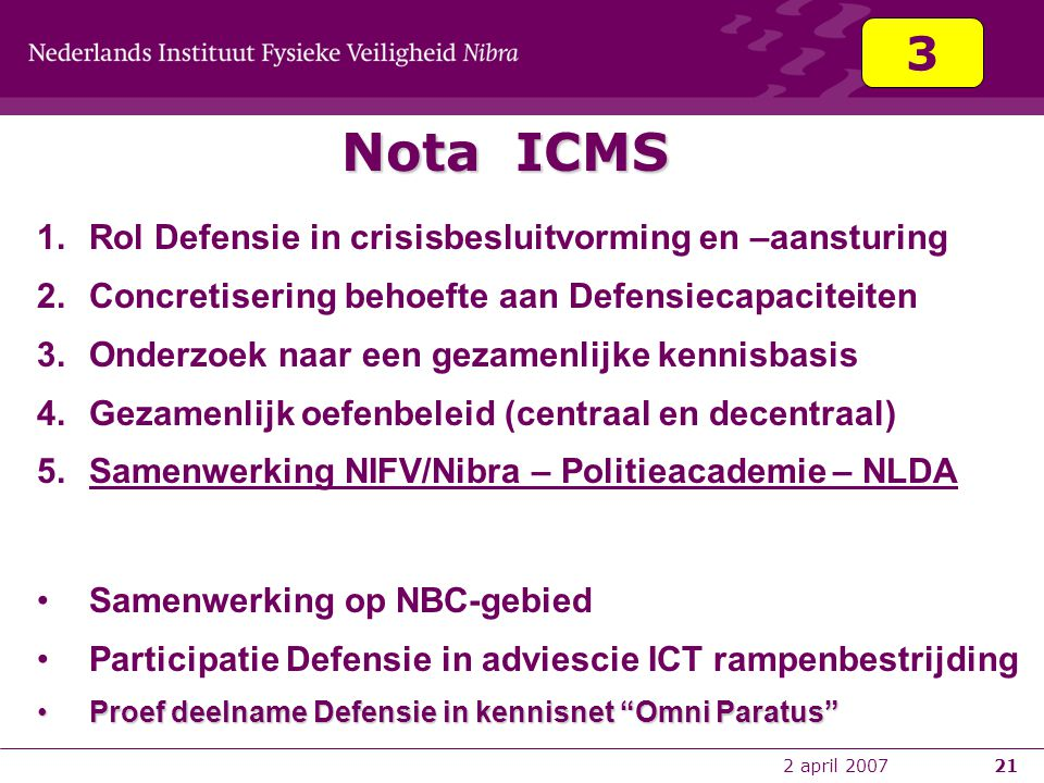 Nota ICMS 3 Rol Defensie in crisisbesluitvorming en –aansturing