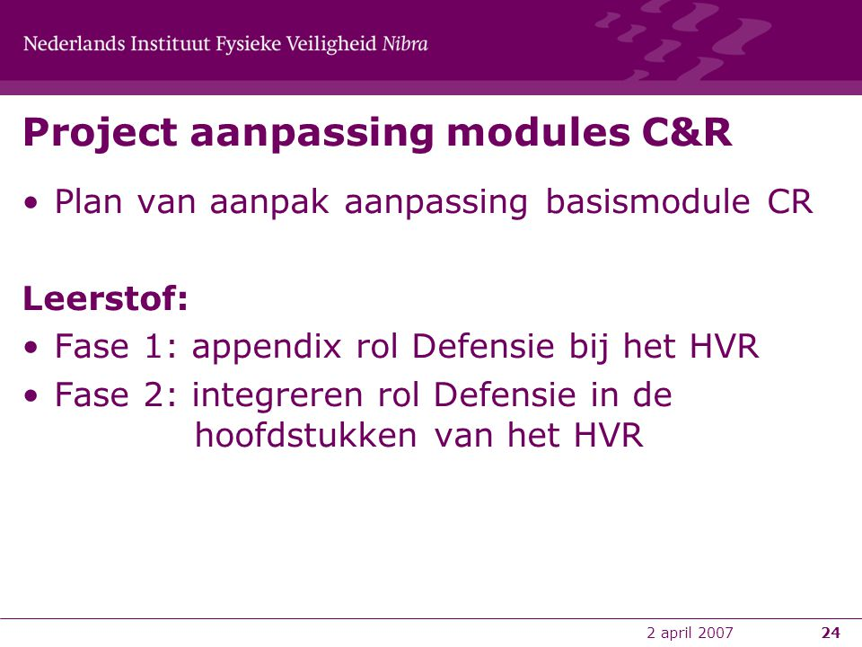 Project aanpassing modules C&R