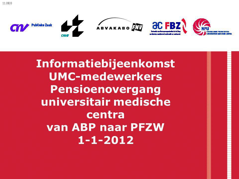 11.0833 Informatiebijeenkomst UMC-medewerkers Pensioenovergang universitair medische centra van ABP naar PFZW 1-1-2012.