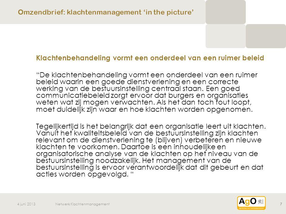 Omzendbrief: klachtenmanagement 'in the picture'