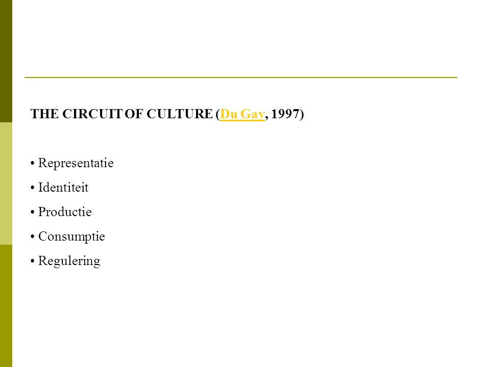 THE CIRCUIT OF CULTURE (Du Gay, 1997)