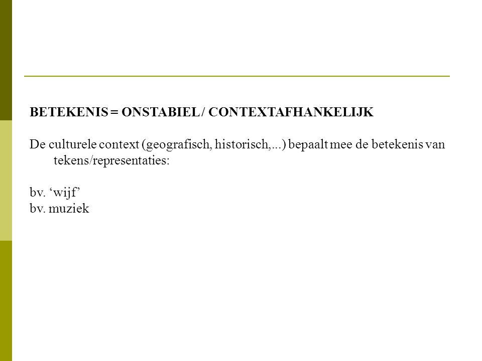 BETEKENIS = ONSTABIEL / CONTEXTAFHANKELIJK