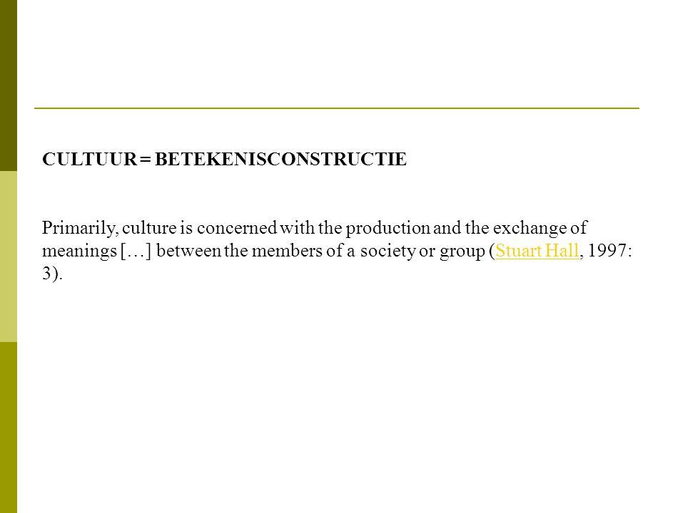 CULTUUR = BETEKENISCONSTRUCTIE