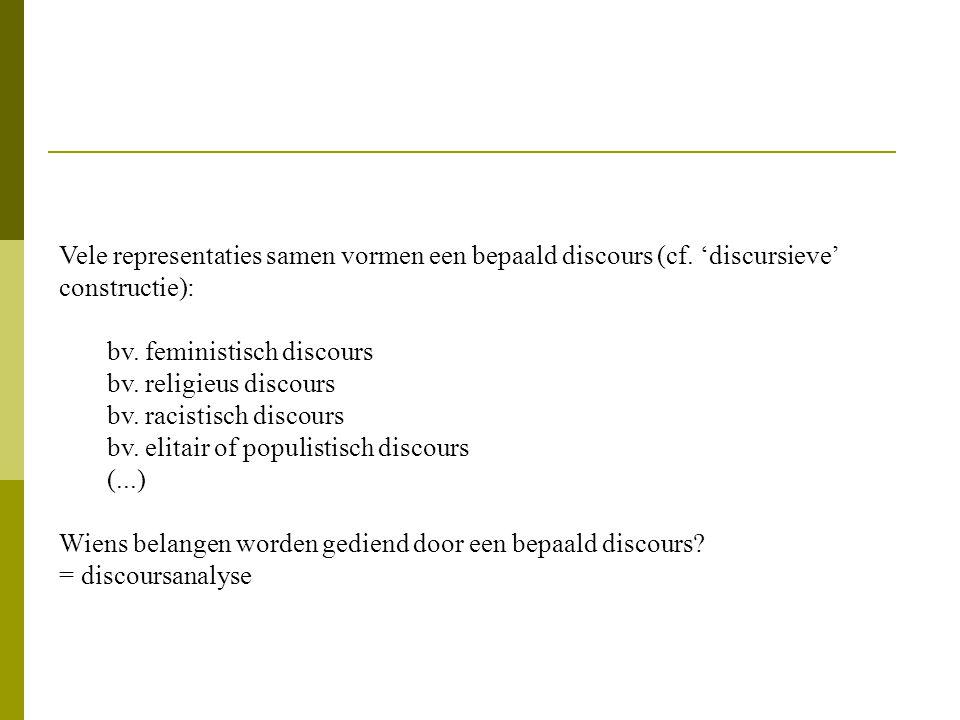 Vele representaties samen vormen een bepaald discours (cf