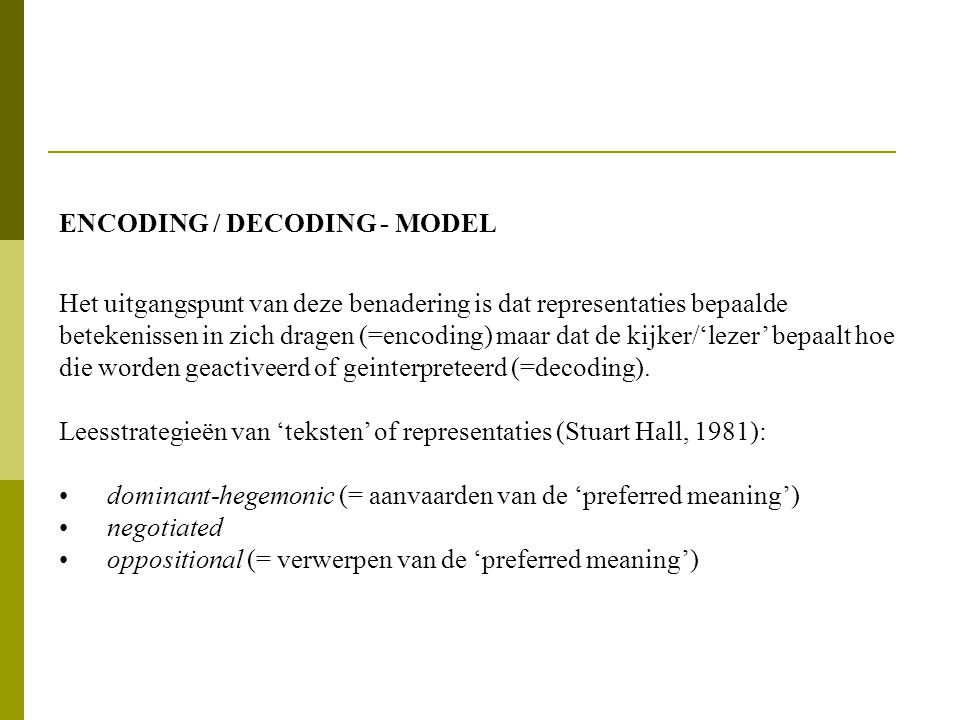 ENCODING / DECODING - MODEL