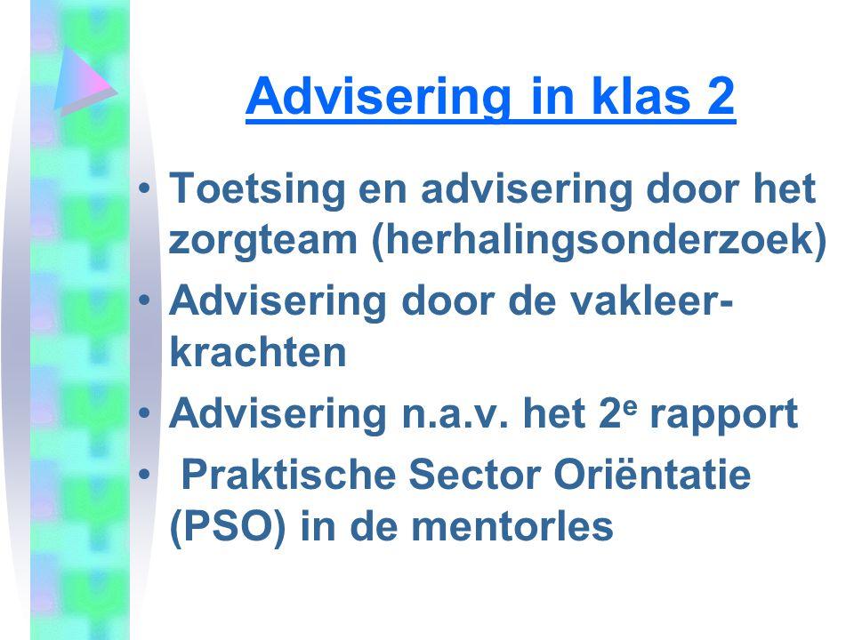 Advisering in klas 2 Toetsing en advisering door het zorgteam (herhalingsonderzoek) Advisering door de vakleer- krachten.