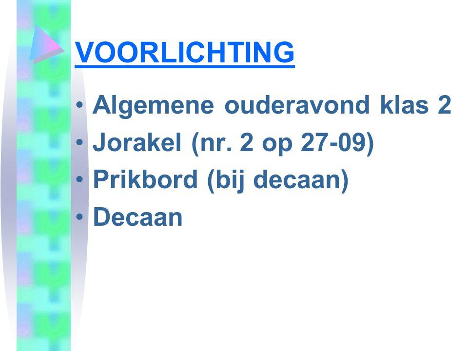 VOORLICHTING Algemene ouderavond klas 2 Jorakel (nr. 2 op 27-09)