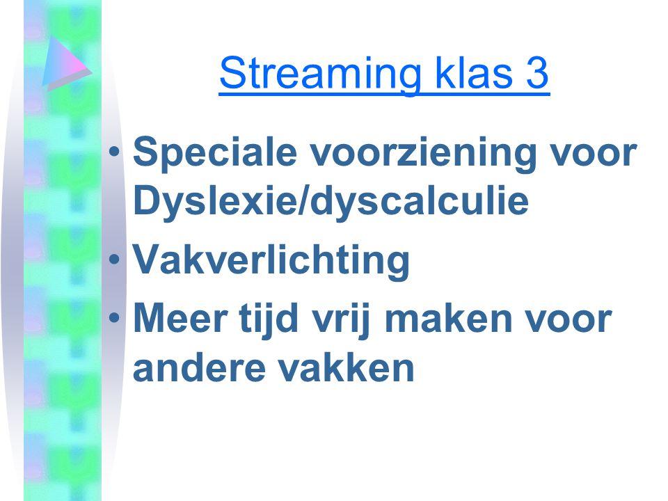 Streaming klas 3 Speciale voorziening voor Dyslexie/dyscalculie