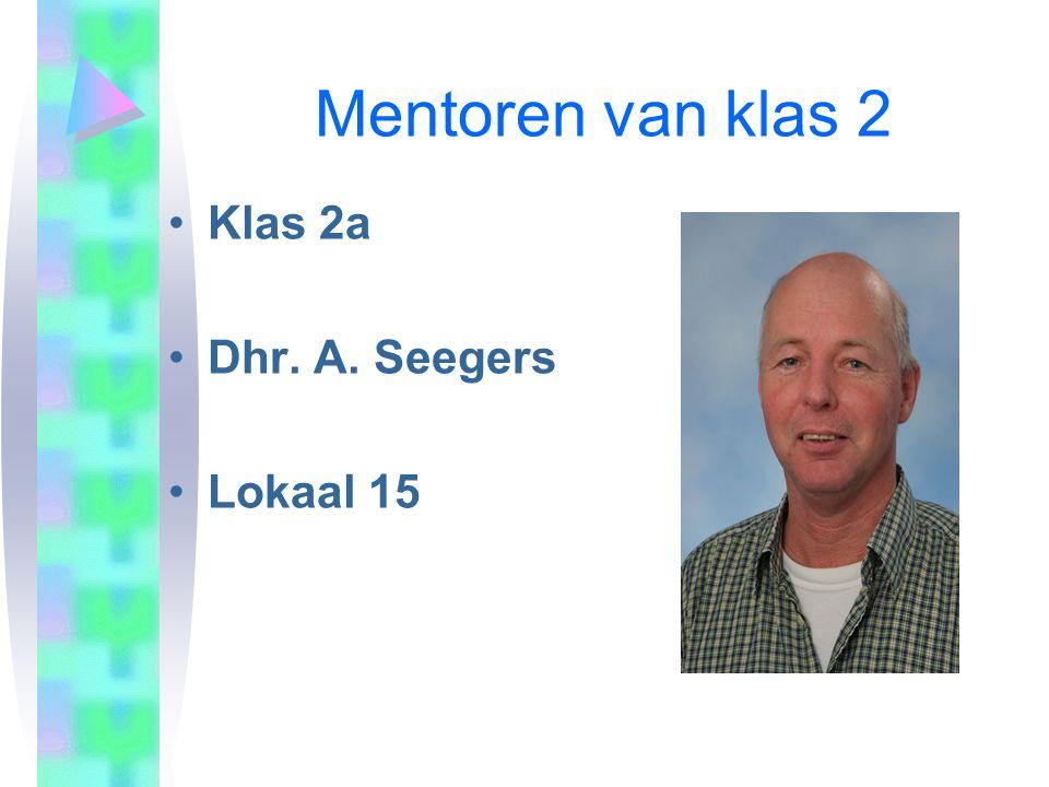Mentoren van klas 2 Klas 2a Dhr. A. Seegers Lokaal 15