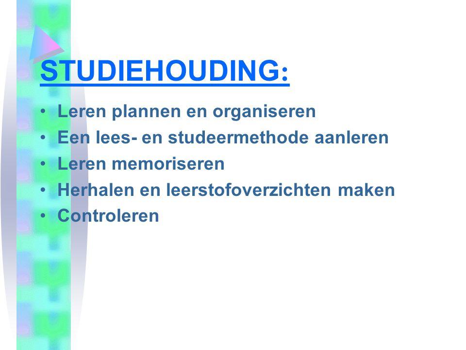 STUDIEHOUDING: Leren plannen en organiseren