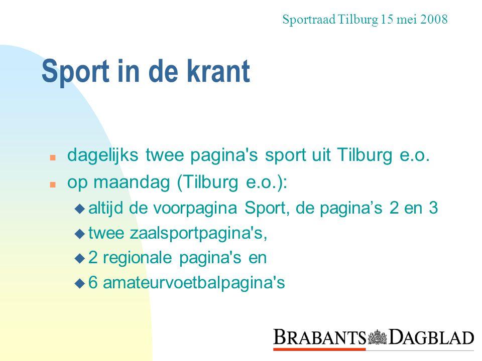 Sport in de krant dagelijks twee pagina s sport uit Tilburg e.o.