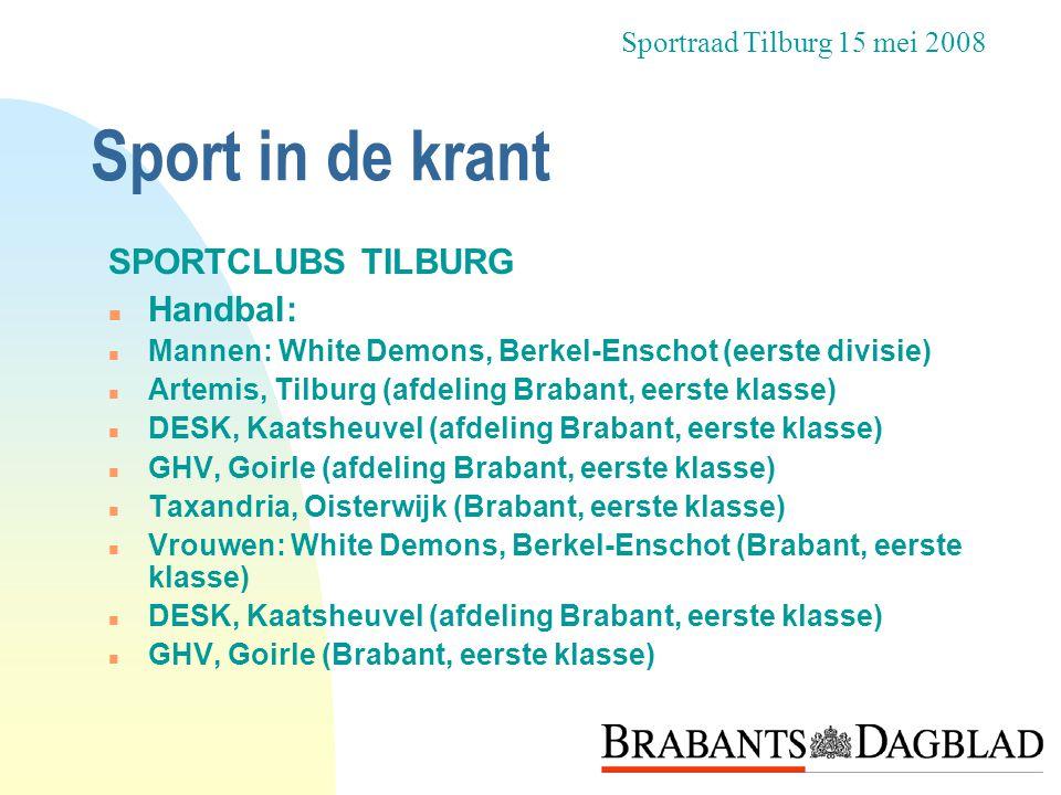 Sport in de krant SPORTCLUBS TILBURG Handbal: