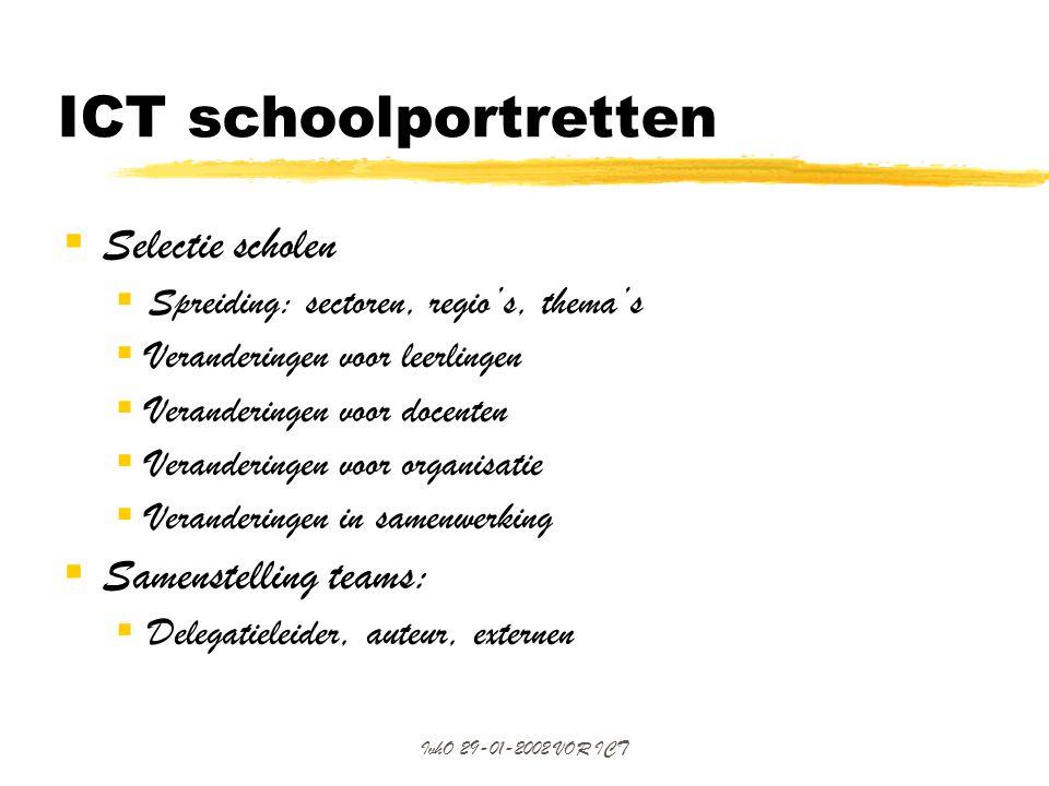 ICT schoolportretten Selectie scholen Samenstelling teams: