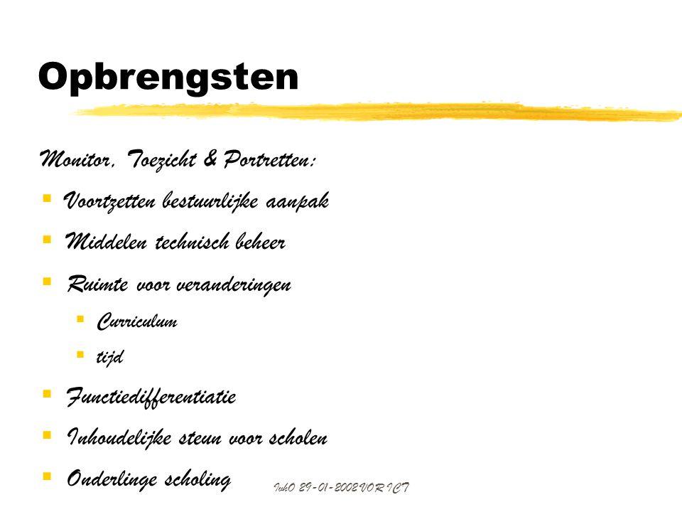 Opbrengsten Monitor, Toezicht & Portretten: